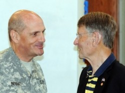 First Army Deputy Commanding General for Support, Maj. Gen. Paul Benenati, greets Bruce McDonald, a civilian aide to the Secretary of the Army from Michigan, at the Central Region CASA conference on Rock Island Arsenal, Ill., on Aug. 12, 2015