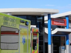 Ambulance at a hospital emergency room entrance