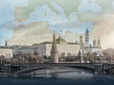 The Kremlin appears on top of a map of the Mediterranean region