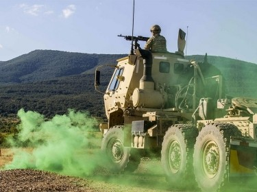 A soldier engages a target during a convoy live fire exercise at Novo Selo Training Area, Bulgaria, on July 7, 2017