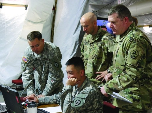 Soldiers from the 25th Infantry Division out of Hawaii and from TRADOC Centers of Excellence participated in the U.S. Army's Cyber Blitz April 2016 at Joint Base McGuire-Dix-Lakehurst, N.J. Cyber Blitz provides the Army a venue to observe and assess cyber and electromagnetic activity-related interactions in a Tactical Command Post.