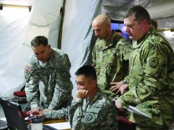 Soldiers from the 25th Infantry Division out of Hawaii and from TRADOC Centers of Excellence participated in the U.S. Army's Cyber Blitz April 2016 at Joint Base McGuire-Dix-Lakehurst, N.J. Cyber Blitz provides the Army a venue to observe and assess cyber and electromagnetic activity-related interactions in a Tactical Command Post., photo by Kristen Kushiyama/U.S. Army CERDEC