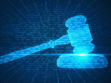A judge's gavel represented in computer code