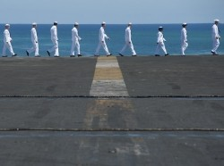 Sailors aboard the aircraft carrier USS Carl Vinson (CVN 70)