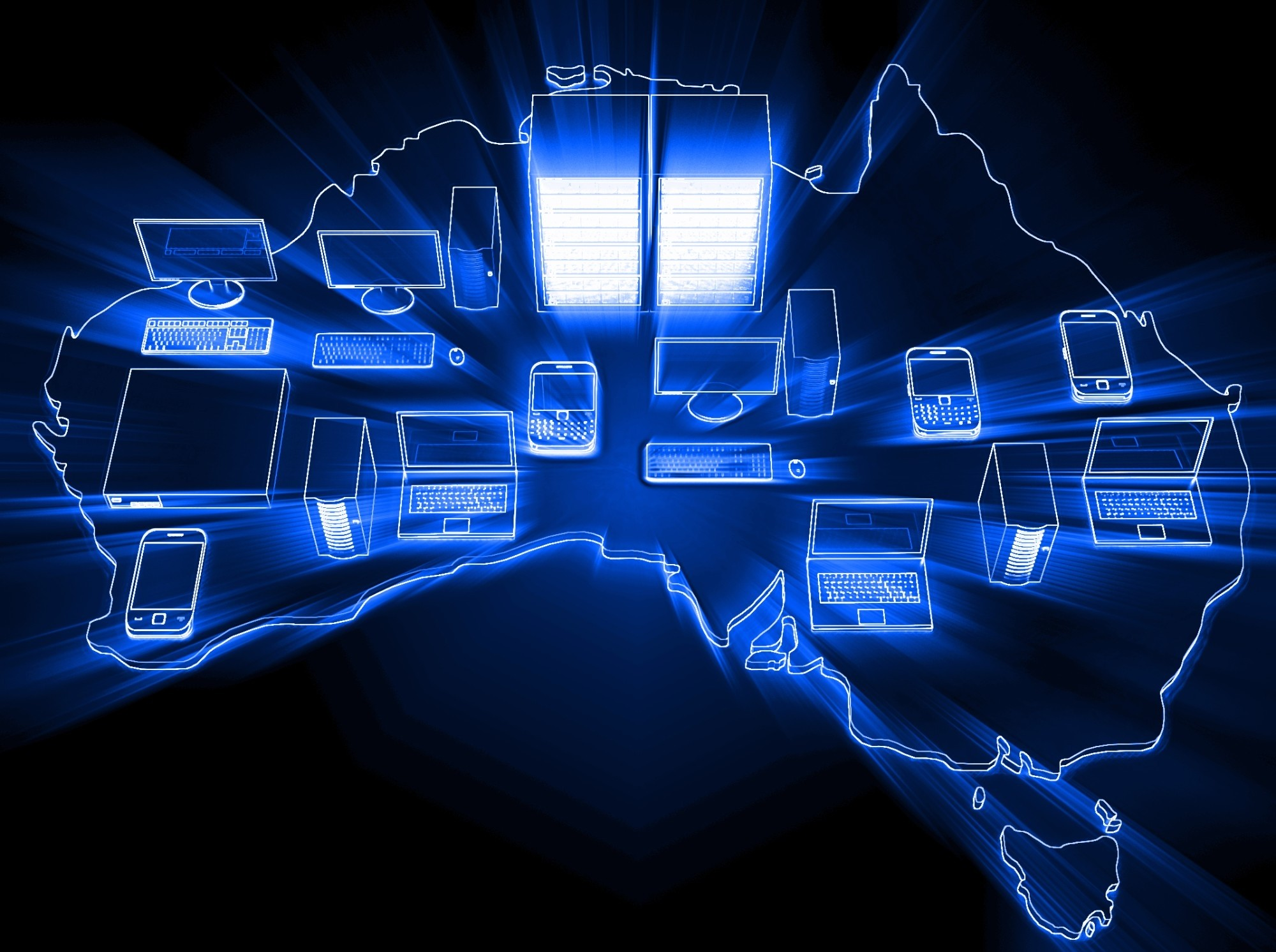 Digital devices on a map of Australia