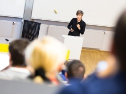 A university professor gives a lecture