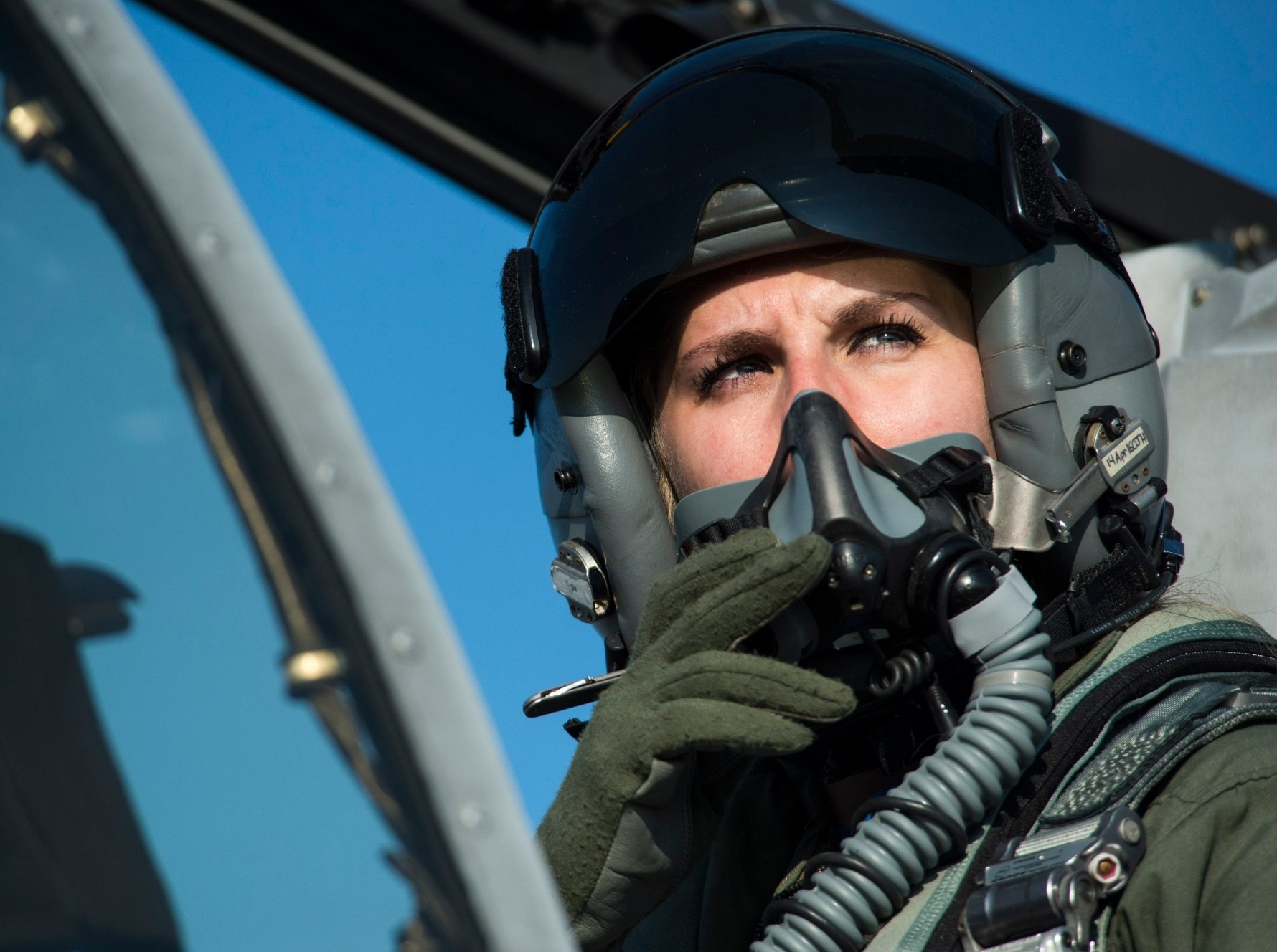 A 74th Expeditionary Fighter Squadron A-10 Thunderbolt II pilot in her aircraft during the squadron's deployment in support of Operation Atlantic Resolve at Graf Ignatievo, Bulgaria, March 18, 2016