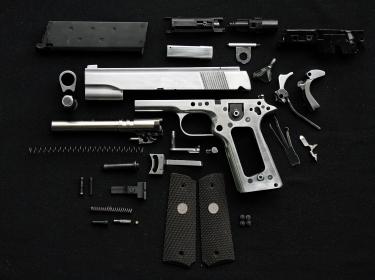 Disassembled handgun