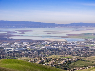 An aerial view of the San Francisco Bay delta, photo by Andrei / Adobe Stock