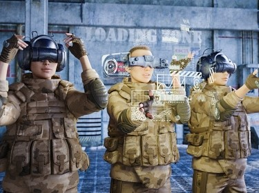 uturistic soldiers wearing virtual reality goggles, photo by Donald Iain Smith/Getty Images