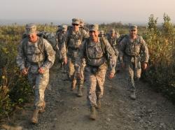 U.S. Army officers on foot in Alaska