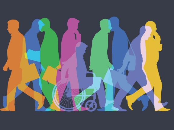 Business men or commuters with wheelchair user