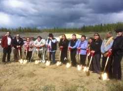 "Members of the Copper River community stand ""shovel ready"" for the groundbreaking of the Copper River Native Association health care and administrative facility in Tazlina, AK on May 31, 2012. Photo by USDA."