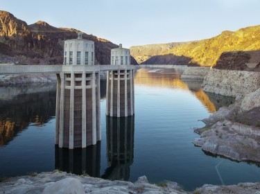 Hoover Dam, Nevada, Desert, Water, Lake Mead, Hydroelectric Power Station, Dam, Turbine, Power, Built Structure, Arizona, Reservoir, Construction Frame, Concrete, Electricity, Canyon, Colorado River, Intake, Tower, Fuel and Power Generation, Generator, Lake, Boulder Dam, sunset, mountain, USA, Power Station