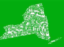 Map of New York State covered in medical and health icons