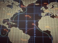 A world map with digital infographics
