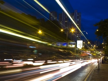 depiction of fast-moving traffic at night
