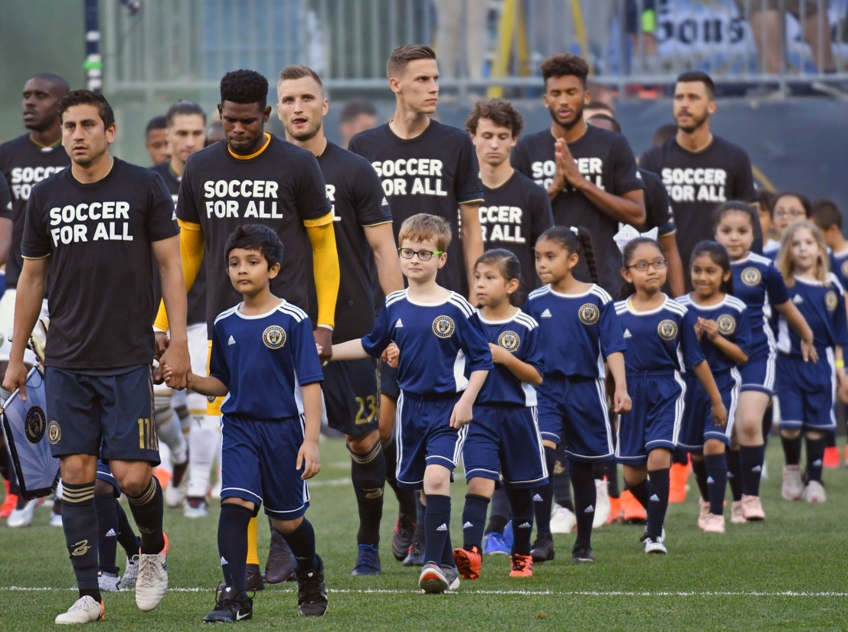 Members of youth soccer teams walk onto the field with the Philadelphia Union before a match against the Portland Timbers at Talen Energy Stadium, Philadelphia, Pa., May 25, 2019, photo by Eric Hartline/USA Today Sports via Reuters