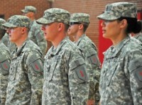Soldiers of the 1st Infantry Division's Main Command Post-Operational Detachment stand in formation during the unit's activation ceremony
