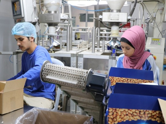 Two workers in a factory in Jordan, October 2018