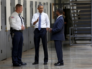U.S. President Barack Obama tours the El Reno Federal Correctional Institution in El Reno, Oklah