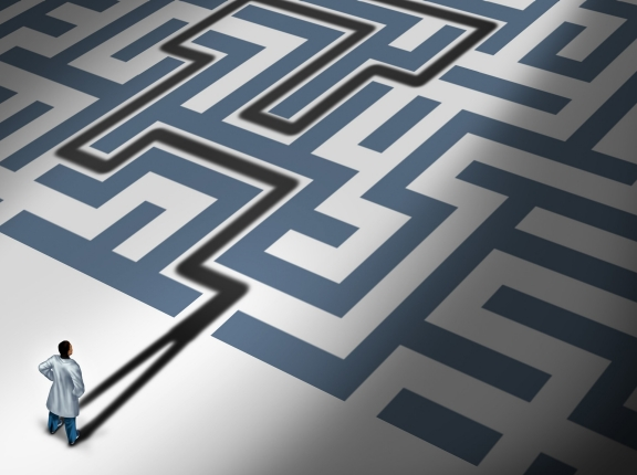 A doctor approaching a maze