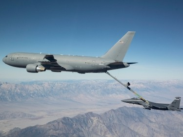 KC-46 refueling F-15E, photo by John D. Parker/U.S. Air Force
