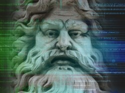 An ancient sculpture of a god's face superimposed over source code, images by Adolf and kentoh/Adobe Stock