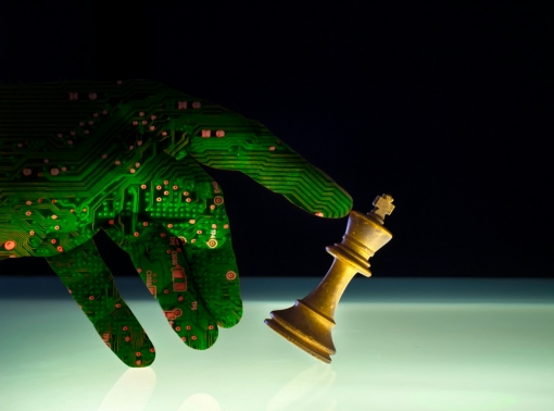 Concept of artificial intelligence winning at chess
