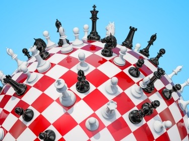 A 3D rendering of a chess board on a globe