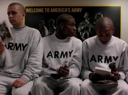 U.S. Army recruits wait for further in-processing after receiving their initial haircuts during basic combat training at Fort Jackson, S.C., January 16, 2008, photo by SrA Micky M. Bazaldua/U.S. Air Force