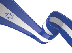 Israel's flag on a ribbon