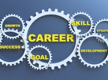 Gears arranged to depict career, goals, skill, success, and growth, image by matdesign24/Getty Images