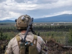 A Special Tactics Airman surveys a target following close air support training during RED FLAG-Alaska 18-3 at Eielson Air Force Base, Alaska, August 16, 2018, photo by Tech. Sgt. Sandra Welch/U.S. Air Force
