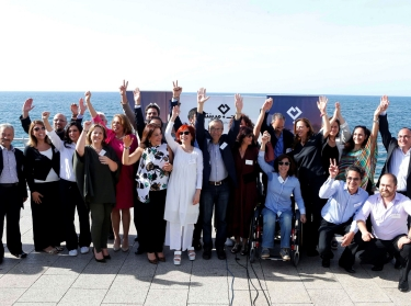 Beirut Madinati candidates and activists after announcing their list of candidates for the municipality elections in Beirut, Lebanon, April 22, 2016