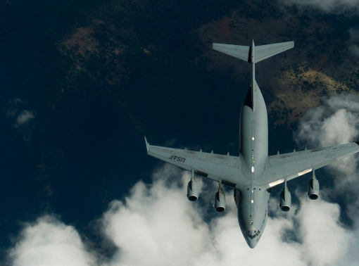 Members of the 191st Air Refueling Squadron conduct air refueling operations with a C-17 Globemaster III from Joint Base Lewis-McCord, Wash. Airmen from the 191st ARS routinely support air operations across the western United States from their home station in Salt Lake City, Utah