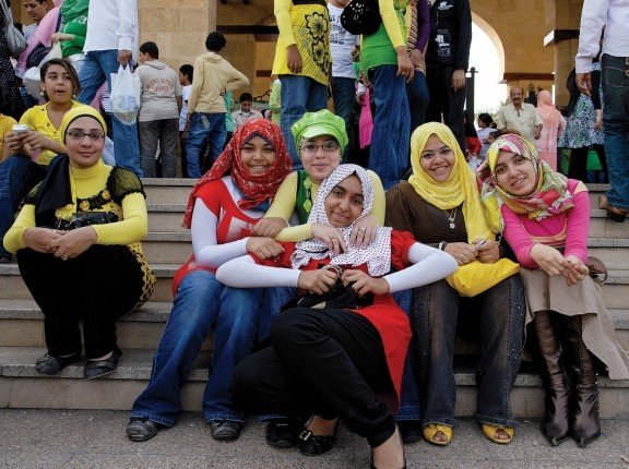 Women at Azhar Park in Cairo, Egypt, October 2008, photo by Claudia Wiens/Alamy