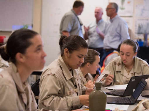 Cadets from Class 18-2 at the Idaho Youth ChalleNGe Academy work on assignments during one of their classes in Pierce, Idaho on Sept. 10, 2018