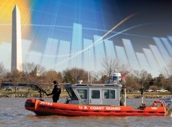 A composite image of a United States Coast Guard boat and a digital graph. Photos by Petty Officer 3rd Class Lisa Ferdinando, U.S. Coast Guard, MicroStockHub/GettyImages