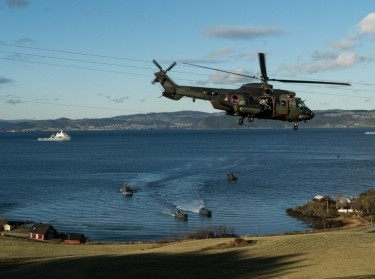 A helicopter lands during the trident juncture exercise in the Netherlands