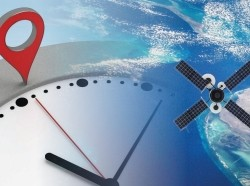 Clock with navigation marker and satellite orbiting Earth, images by petrovv and janiecbros/Getty Images