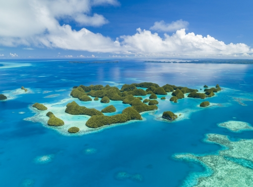 Aerial view of islands in Palau