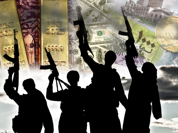 Armed fighters over a background of Syrian, Iraqi, and U.S. currencies and gold ingots, photos by zabelin, Cimmerian, Vitoria Holdings LLC, and johan10/Getty Images