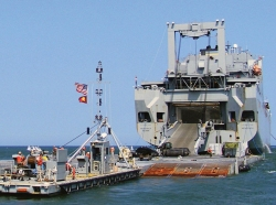USNS Mendonca offloads cargo in Virginia Beach, Va., photo by U.S. Navy