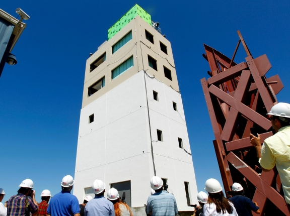Engineers are using this specially constructed five-story building to study how high-value buildings, such as hospitals and data centers, can remain operational after an earthquake, in San Diego, California, April 17, 2012, photo by Mike Blake/Reuters