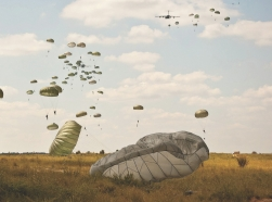 Paratroopers perform an airborne training exercise