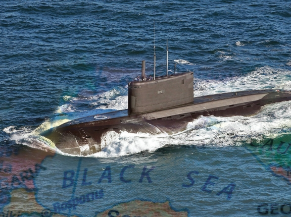 Russian submarine with map overlay of Black Sea, photos by LA(Phot) Guy Pool/Wikimedia Commons and kdow/Getty Images