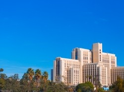 Los Angeles General Hospital, skyline view near downtown, photo by Jorge Villalba/Getty Images