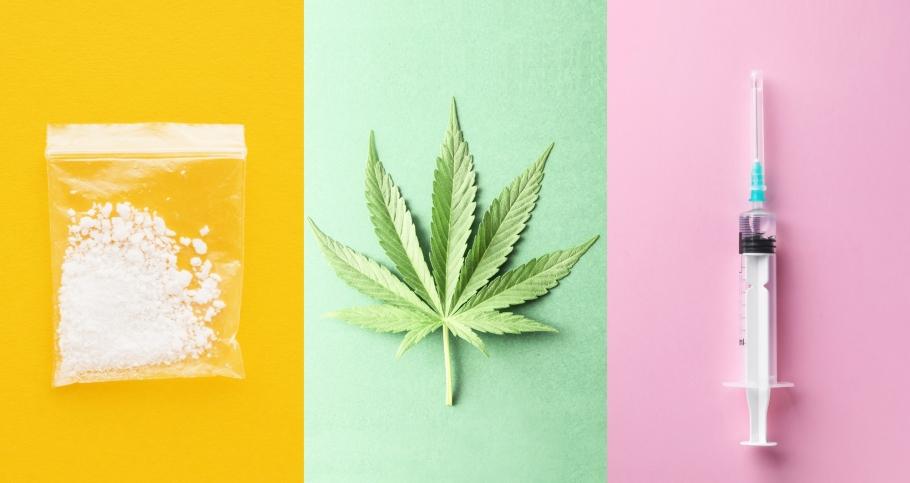 Cocaine, cannabis leaf, and a syringe