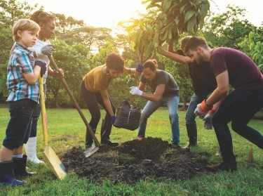 Group of people planting a tree together, photo by Rawpixel/Getty Images